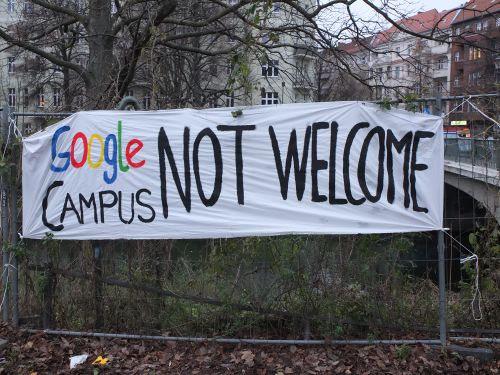 "Photo banner ""Google Campus not welcome"""